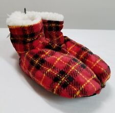 FUZZY BOOTIE SLIPPERS JOE BOXER SIZE 5.5-7.5 RED PLAID FREE SHIPPING