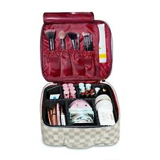 LUXOURIA Checkered Large Makeup Bag Travel Cosmetic Train Case Designer Bag