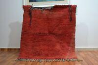 """Moroccan Handmade Vintage Rug Tribal Berber rug 3'8""""x4'3"""" Bohemian wool red rug"""