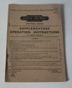 British Railways, Southern Region - Supplementary Operating Instructions - 1962