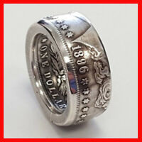 RARE Morgan Dollar USA Coin Antique Gothic Biker  1896 Silver Color Ring Sz 9
