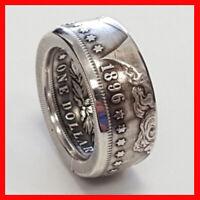 RARE Morgan Dollar USA Coin Antique Gothic Biker Silver Color 1896 Ring Sz 10