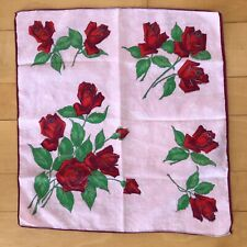 "Ladies Handkerchief Pink with Red Roses 12"" x 13"" - Flowers"