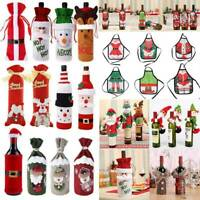 Merry Christmas Wine Bottle Decorations Bag Dinner Table Sequin Santa Cover Gift