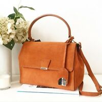 ZARA Suede Leather Orange Brick City Bag Satchel New Sold out Bloggers