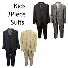 Kids Childrens Boys 3 Piece Suit Blazer Waistcoat Trousers Ages 1-15