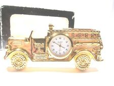 Novelty Clock Fire Engine gold tone mini-clock collection