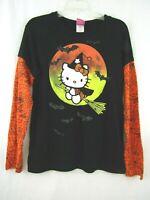 Hello Kitty Black Halloween T-Shirt Witch Broom Long Sleeve Size Juniors XXL