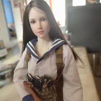 1/6 Beauty Girl Black Long Straight Hair Head Carving F12'' Figure Body Model