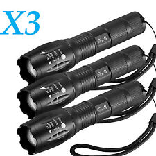 3 x Tactical 18650 Flashlight Ultrafire T6 High Powered 5Modes Zoomable Aluminum