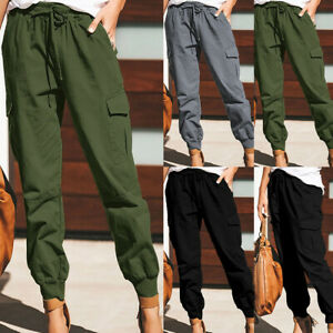 Women Cargo Combat Pants Work Trousers Stretch Trousers Sport Joggers Trousers