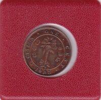 One cent Ceylon 1945 Georg VI Großbritannien prima Erhaltung Great Britain
