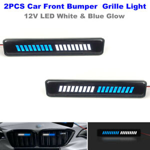 12V LED Car Front Bumper White & Blue Glow Grille Lamp Decoration Day Lighting