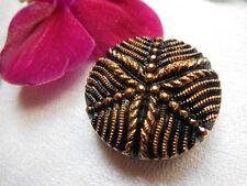 bouton ancien noir doré strié relief  vintage diamètre: 2,5 cm