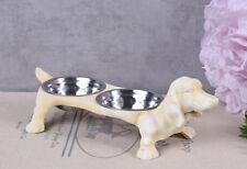 Eisen ZuverläSsig Fressnapf Gusseisen Futternapf Dackelfigur Doppelnapf Hundenapf Weiss Wassernapf Metallobjekte