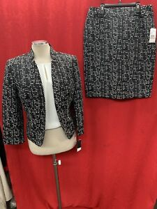 """NINE WEST SKIRT SUIT/NEW WITH TAG/BLACK/WHITE/RETAIL 16/SKIRT 24"""""""