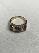 BEAUTIFUL Gold Plated Silver Ring, 3 Cut Amethyst Gems Size 6 (53.5 mm)
