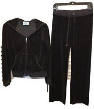 Juicy Couture Dark Black Velour Track Suit XL Jacket XS Pants