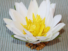 Artificial Fish Aquarium LARGE 4 in. WHITE Silk WATER LILY FLOWER w/ STONE BASE