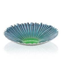 Déco Assiettes en Verre,Plaque Fleur Bleu Blossoom D.38cm Vert Verre Sandra Rich