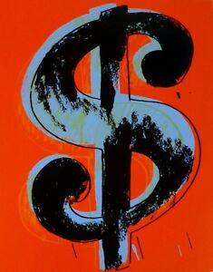ANDY WARHOL DOLLAR RED $ SUNDAY B.MORNING SCREENPRINT Hand Numbered 262/1000 COA
