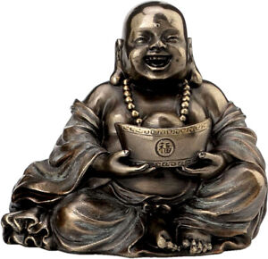 Happy Buddha Holding Gold Cold Cast Bronze statue / Sculpture 6cm /  2.36 inches