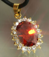 Vintage Design 3ct Created Ruby & Diamond Oval Pendant + Necklace