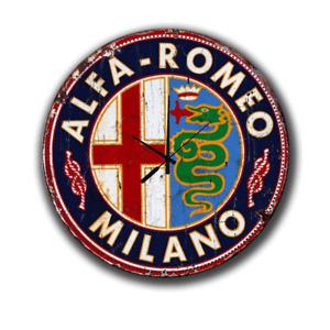 "ALFA ROMEO MILANO LARGE 300X300  12"" DIAMETER METAL TIN SIGN WALL CLOCK"