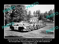 OLD POSTCARD SIZE PHOTO OF ATLANTA GEORGIA POLICE & PATROL CARS LINE-UP c1950