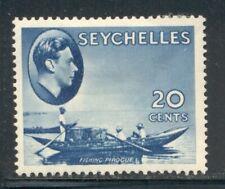 SEYCHELLES 135 SG140 MH 1938-41 20c blue KGVI Defin Fishing Canoe Cat$28