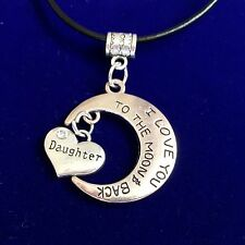 Antique Silver Plt I Love You To The Moon & Back Daughter Necklace Pendant Gift
