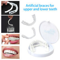 2Pcs Non-toxic Upper & Lower Below White Fake Teeth Veneer Cover Dental Kits Set