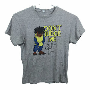 Vintage Dont Judge Me T-Shirt Size L Grey Short Sleeve Crew Neck 90s
