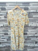 VTG RETRO SUMMER FLORAL BRIGHT ABSTRACT BUTTON 80'S FLOWY MAXI TEA DRESS UK S