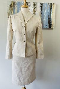 LE SUIT Women 2PCS Stunning Ivory Beige patterned Skirt Suit Size 8p