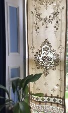 "Beautiful Antique French Chateau Cornelli Tambour Needle Curtain 22""/65"" Damaged"
