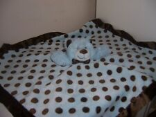 Mary Meyer Baby Blue Brown Polka Dot Blanket Teddy Bear Satin Security Lovey