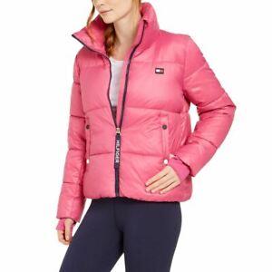 TOMMY HILFIGER SPORT NEW Women's Water Resistant Zip-up Puffer Jacket Top TEDO