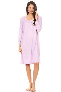 1654 Womens Nightgown Sleepwear Pajamas Woman Long Sleeve Sleep Dress Nightsh...