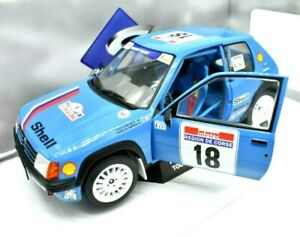 Coche Auto Rally Escala 1:18 solido Peugeot 205 Rallye diecast miniaturas Azul