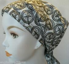 Black White Cotton Compass Cancer Chemo Head Wrap Hair Loss Scarf Turban Cover