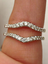 NEW Solitaire Enhancer Diamonds Ring Guard Wrap 14k White Gold Wedding Band