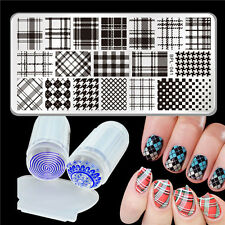 3pcs/set Grids Design Nail Art Stamp Image Plate & Silicone Stamper Kit Set