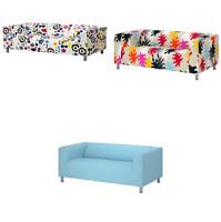 *New* KLIPPAN Cover two-seat sofa ,light blue, & multicolour Matts Brand Ikea*