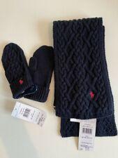 Ralph Lauren polo girls knit scarf mitten set blue age 18 Month-4 years RRP £80