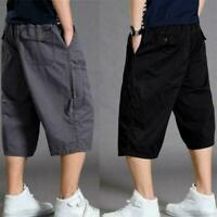 Mens Summer 3/4 Length Cargo Pants Shorts Baggy Casual Loose Cotton Trousers Hot