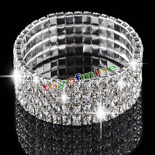 4 Rows Clear Silver Wedding Bridal Crystal Diamante Rhinestone Stretch Bracelet