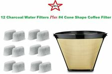 #4 Permanent Coffee Filter & 12 Water Filters for Cuisinart Coffeemakers