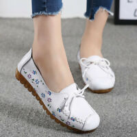 Women's Casual Flats Oxfords Leather Shoes Peas Lazy Loafers Slip On Driving New