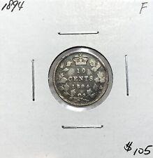 Canada 1894 Ten Cents Silver 10 Cent Fine